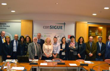 FOTO: Imagen de la presentación esta mañana de los resultados del Programa Consigue en la que han participado el Presidente y Vicepresidente del COF Gipuzkoa, Ángel Garay y Miguel Ángel Gastelurrutia.