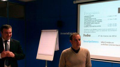 otografía Iker Goenaga, director general de Roxtec Sistemas Pasamuros, junto con Iñigo Echaide, responsable de los segmentos Ferroviario y Energía de Roxtec, en la presentación realizada en Armeria Eskola de Eibar.