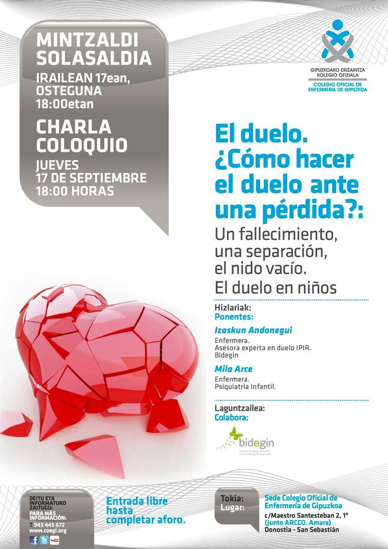 cartel de la conferencia sobre cómo afrontar el duelo ante la pérdida de un ser querido, organizada por el Colegio de Enfermería de Gipuzkoa