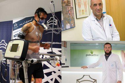 imagen de un deportista haciendo el chequeo deportivo, arriba a la derecha el médico deportivo, Enrique Pérez de Ayala, y a bajo a la derecha el podólogo, Antonio Martínez.