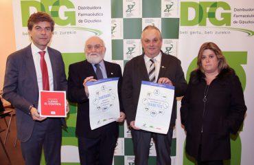 FOTO: Imagen de archivo de la presentación del programa con responsables de Acofarma, COFG, DFG y Asociación Guipuzcoana de Diabéticos.