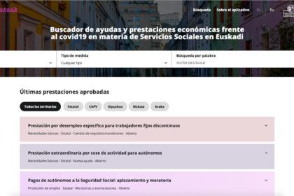 Buscador de ayudas y prestaciones económicas frente al covid19 en materia de Servicios Sociales en Euskadi
